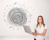 Young business woman with media doodle scribble — Foto Stock