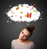 Young woman gesturing with cloud and charts concept — Stock Photo