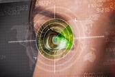 Cyber vrouw met moderne militair doel oog — Stockfoto