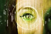 Moderní cyber žena s matice oko — Stock fotografie
