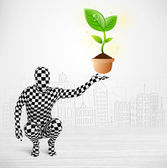Man in full body suit with eco plant — Stock Photo