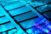 Tangentbord med glödande programmering koder — Stockfoto