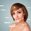 Stock Photo: Young sexy girl with facial treatment modern arrows