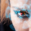 Stockfoto: Future womwith cyber technology eye panel concept