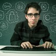 Young nerd hacker with virus and hacking thoughts — Stock Photo #40651907