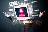 Female monitor head with error signs on the display screen — Stock Photo