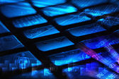 Keyboard with glowing programming codes — Stock Photo