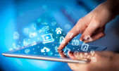 Finger pointing on tablet pc, social media concept — Stock Photo