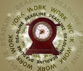 Clocks with work and deadline round writing — Stockfoto