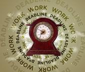 Saatler çalışma ve son tarih yazma yuvarlak — Stok fotoğraf