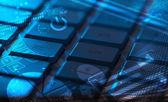 Keyboard with glowing charts — Stock Photo
