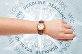 Uhren mit arbeit und termintreue runden schreiben — Stockfoto