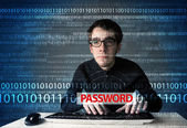 Young geek hacker stealing password  — Stok fotoğraf