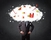 Modern business man with a graph cloud head — Stock Photo