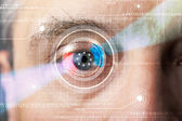 Cyber man with technolgy eye looking — Fotografia Stock