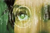 Modern cyber woman with matrix eye  — Stock Photo