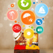 Suitcase with colorful summer icons and symbols — Stock Photo #42033885