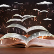 Stock Photo: Pages and glowing letters flying out of book