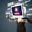 Stock Photo: Female monitor head with error signs on the display screen