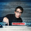 Stock Photo: Young geek hacker stealing password