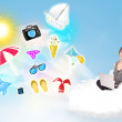 Stock Photo: Young businessman sitting in cloud with laptop