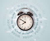Clocks with work and deadline round writing — Stock Photo