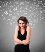 Pretty young girl with abstract white media icon doodles — Stock Photo