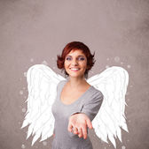 Person with angel illustrated wings on grungy background — Stock Photo