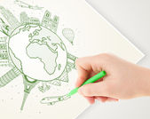Hand drawing vacation trip around the earth with landmarks and c — Stok fotoğraf