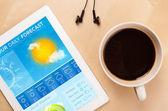 Tablet pc visar väderprognos på skärmen med en kopp kaffe — Stockfoto