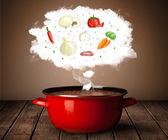 Legumes em nuvem de vapor — Fotografia Stock