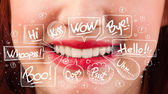 Beautiful red lips with white speech bubbles — Stock Photo