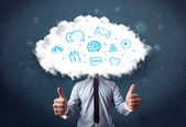 Man in suit with cloud head and blue icons — Stock fotografie
