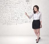 若い女性のスケッチとの考えを計算します。 — ストック写真