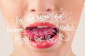Beautiful red lips with white speech bubbles — Foto de Stock