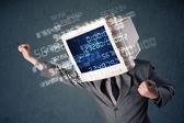 концепция расчета данных компьютер человека кибер монитор пк — Стоковое фото