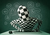 Hacker in mask morphsuit with virus and hacking thoughts — Stock Photo