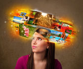 Girl with colorful glowing photo memories concept — Stok fotoğraf