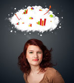 Young woman gesturing with cloud and charts concept — Stockfoto