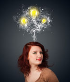 Thoughtful woman with smoke and lightbulbs above her head — Foto de Stock