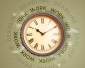 Clocks with work and deadline round writing — Zdjęcie stockowe