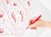 Soyut çizimler ve karalamalar kağıt üzerine çizim el — Stok fotoğraf