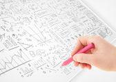 Человеческая рука, эскиз идеи на белой бумаге — Стоковое фото