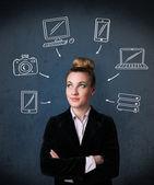 Jonge vrouw met getekende gadgets rond haar hoofd te denken — Stockfoto