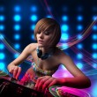 Young Dj girl mixing records with colorful lights — Stock Photo