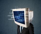 Lidské cyber monitoru pc výpočet počítače dat koncept — Stock fotografie