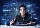 ハッカーのサイバー アイコンと技術環境でのプログラミング — ストック写真