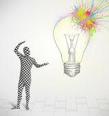 3D personagem humano é corpo terno olhar abstrato colorido lig — Fotografia Stock