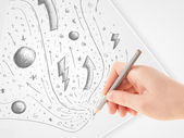 Hand drawing abstract sketches and doodles on paper — Foto Stock