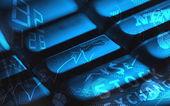 光るビジネス アイコン付きキーボード — ストック写真
